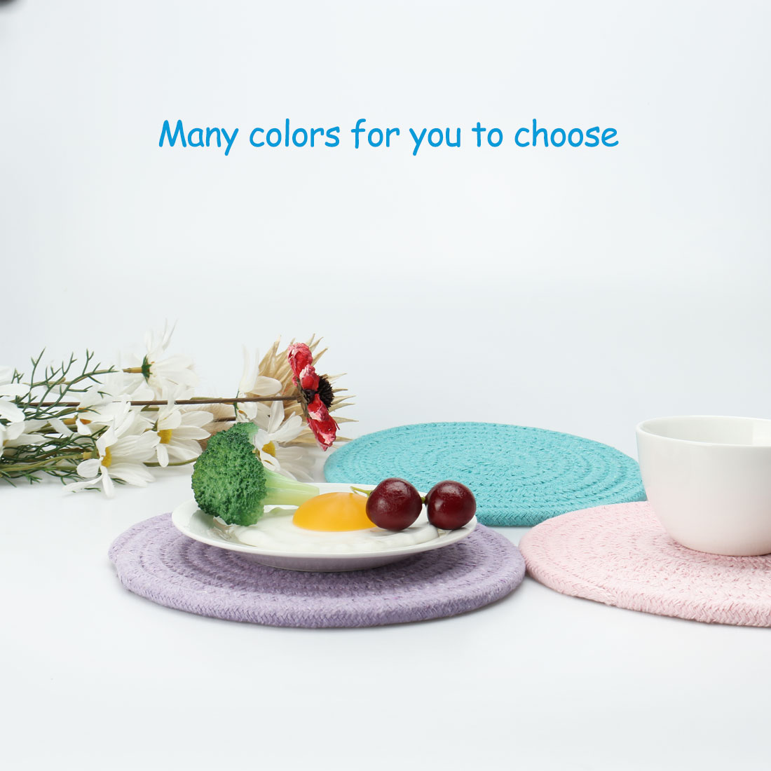 "Round Cotton Thread Weave Heat Resistant Mat 7"" Dia Placemats/Spoon Rest/Coasters Mats, Kitchen Dining Mats Seagreen 3pc - image 1 de 7"