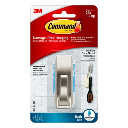 Command Modern Reflections Hook with Water-Resistant Strips, Brushed Nickel, Medium, 1 Hook, 2 Strips/Pack](Mr Smee Hook)