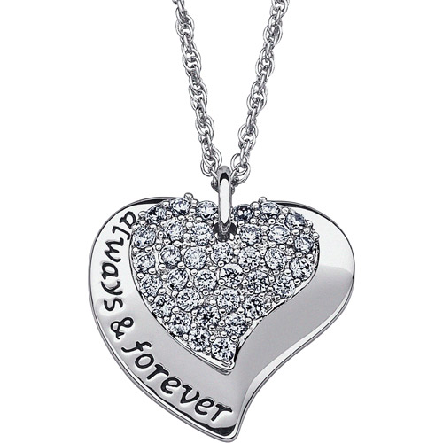 "2.04 Carat T.G.W. CZ Silver-Tone ""Always & Forever"" Double Heart Pendant, 20"""