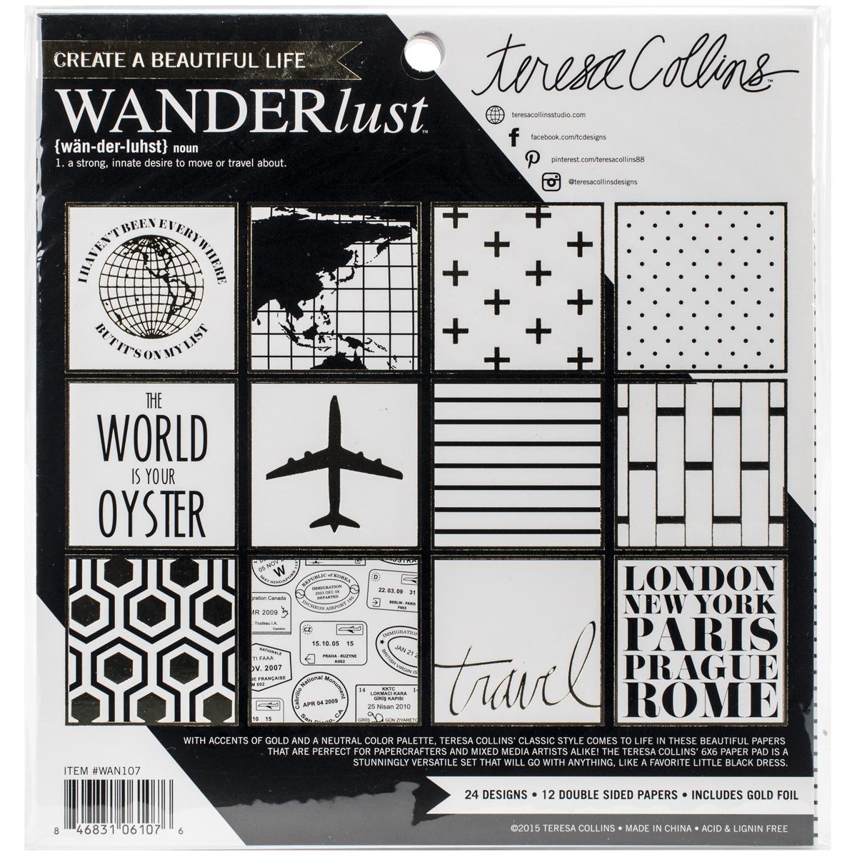 Teresa Collins Paper Pad 6 Inch X 6 Inch 24/Pkg-Wanderlust
