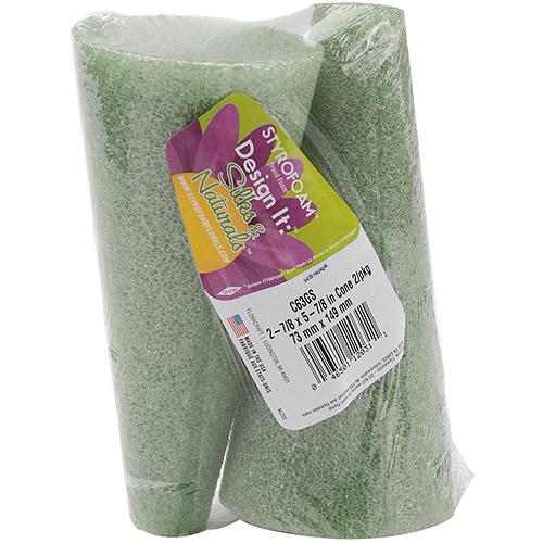 "Styrofoam Cones, 6"" x 3"", 2pk, Green"