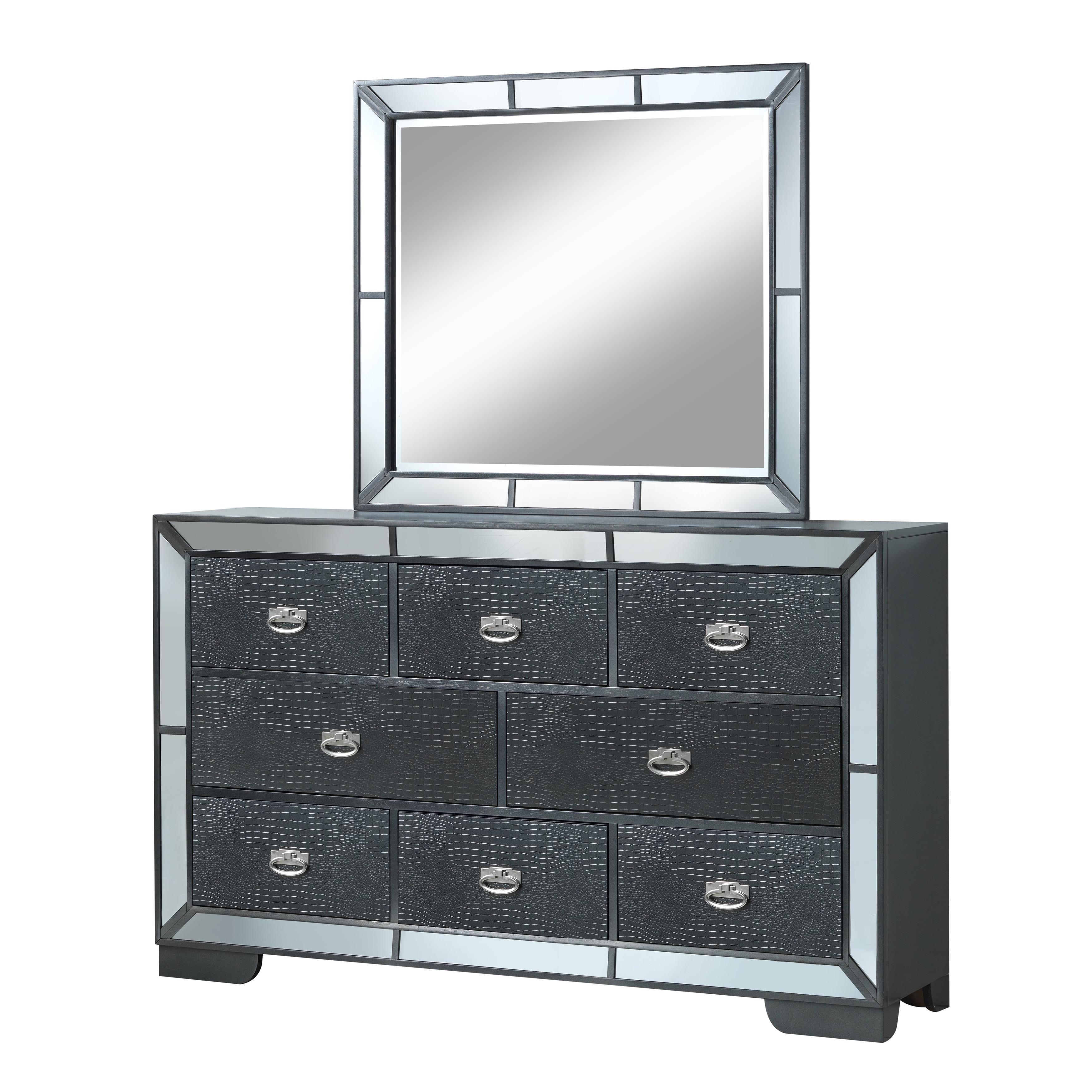 LYKE Home Wynter Mirror Trim Accented Dresser and Mirror Set