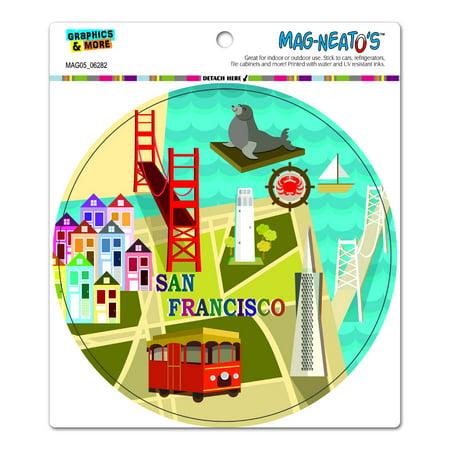San Francisco   Golden Gate Bridge Bay Transamerica Pyramid Pier 39 Coit Tower Sea Lion Circle Mag Neatos Tm  Car Refrigerator Magnet