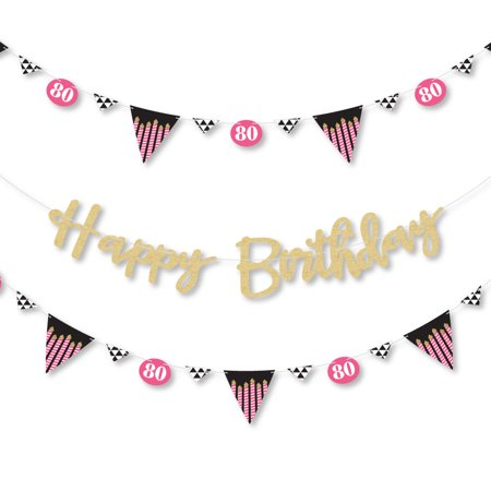 Chic 80th Birthday - Pink, Black and Gold - Birthday Letter Banner Decoration - Real Gold Glitter Happy Birthday Banner - Decorations For 80th Birthday