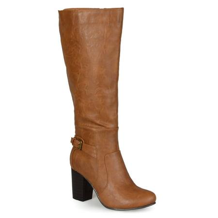 Brinley Co. Wide Calf Buckle Detail High Heeled Boots High Heel Western Boots