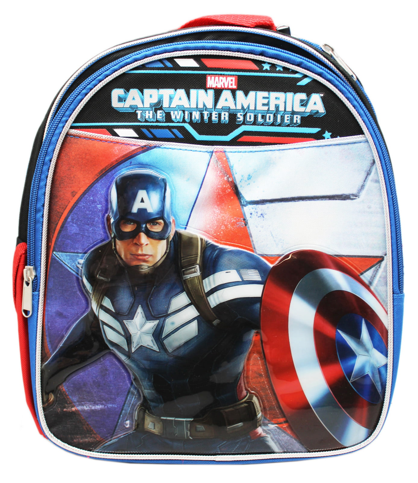 Captain America: The Winter Soldier Vinyl Front Patch Small Kids Backpack (12in) by
