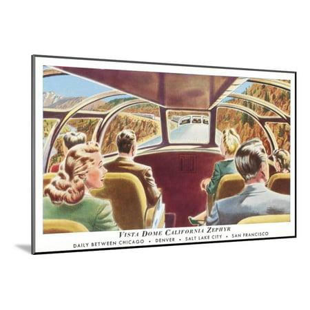 Train's Vista Dome, California Zephyr Wood Mounted Print Wall - California Zephyr Vista Dome