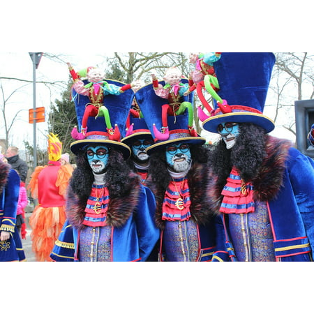 Peel-n-Stick Poster of Carnival Mask Costume Parade Aalst Group Poster 24x16 Adhesive Sticker Poster - Group Carnival Costumes
