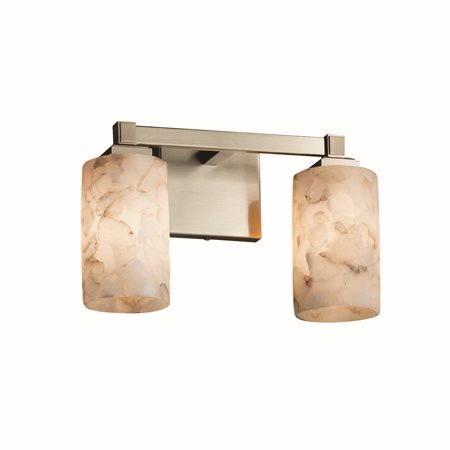 - Justice Designs Alabaster Rocks Regency 2-LT Bath Bar - Brushed Nickel - ALR-8432-10-NCKL