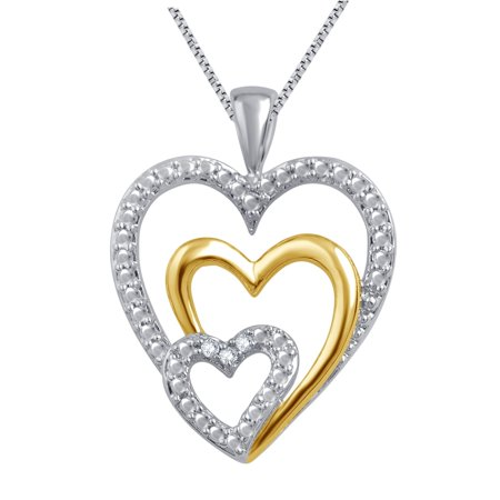 Elegant 0.03 Carat Two Tone Triple Heart Diamond Necklace In 14K White Gold Plated (14k White Gold 1/2 Carat)