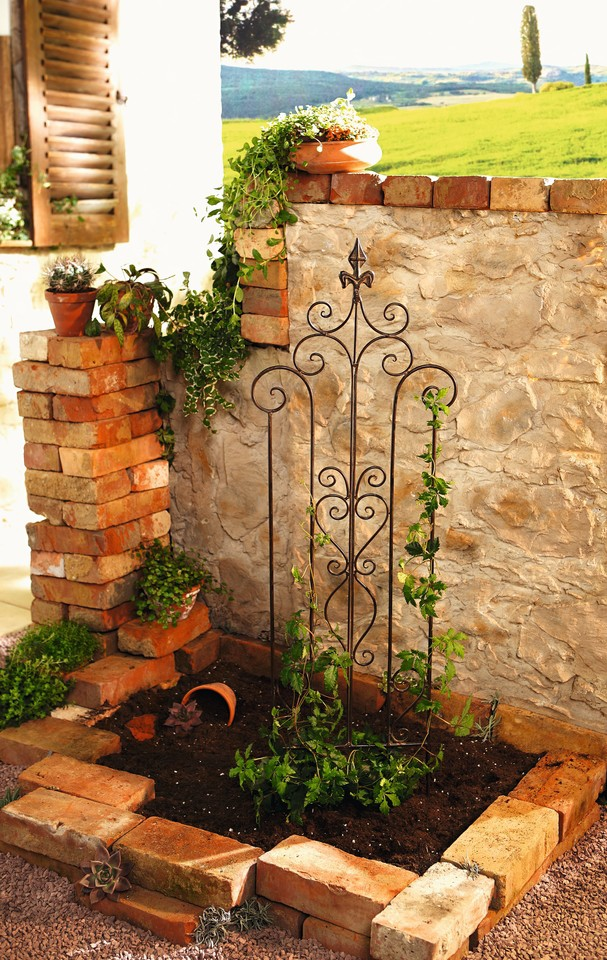 14 in. by 46 in. Decorative Metal Trellis Garden Stake with Scroll Accent by Garden Accents