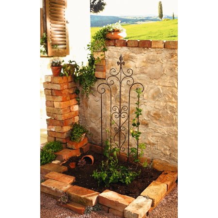 - 14 in. by 46 in. Decorative Metal Trellis Garden Stake with Scroll Accent