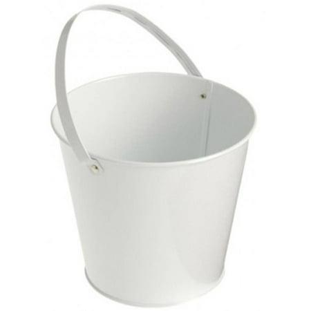 Metal Bucket, White - Halloween Buckets