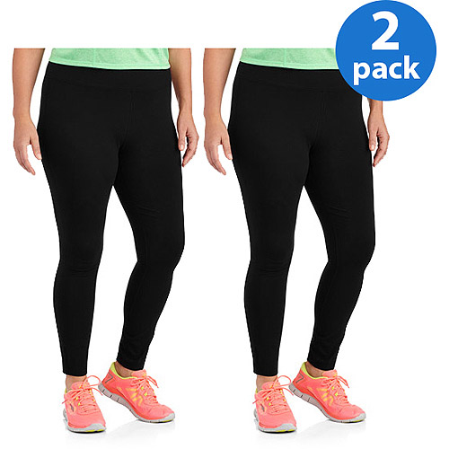 Danskin Now Women;s Plus-Size Dri-More Core Leggings 2pk Value Bundle