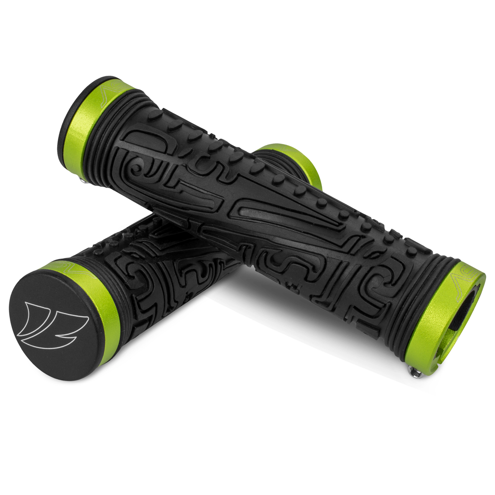 BV Bike Handlebar Grips, Double Lock-on Bicycle Grip Handle Bar End Holding Locking Grips, for MTB, BMX, Mountain, Downhill, Folding Bike (Green)