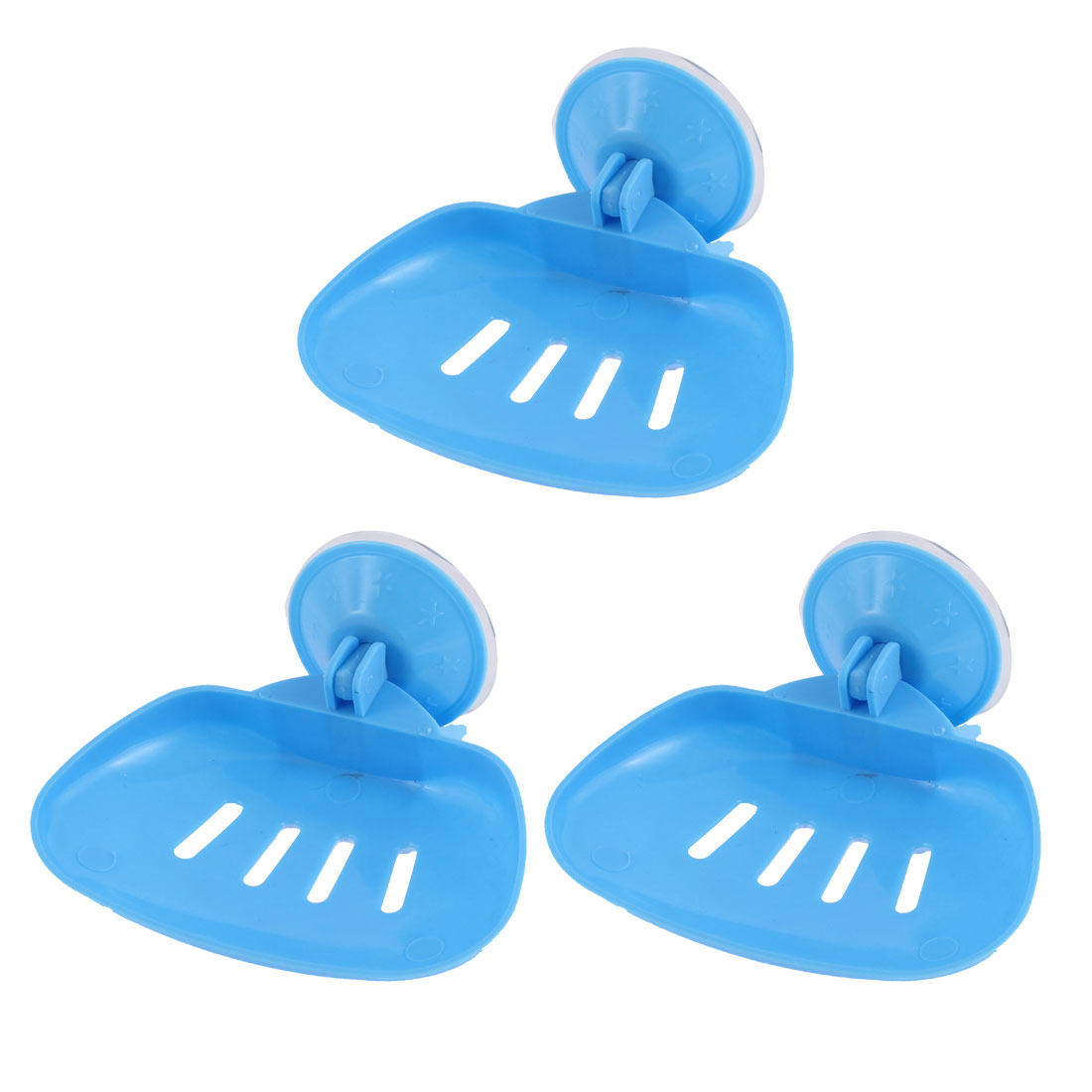 Household Bathroom Plastic Hollow Out Suction Cup Soap Holder White 3 Pcs