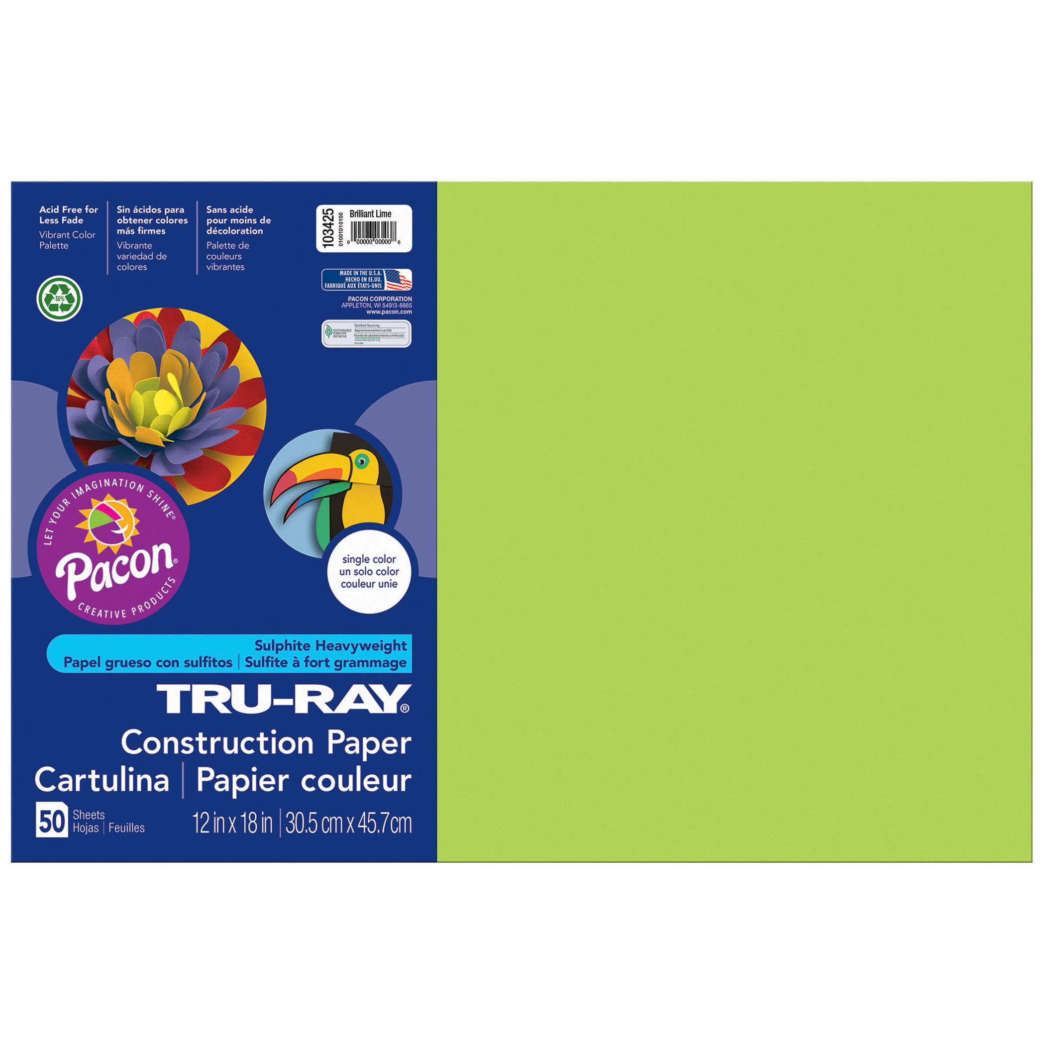Pacon Tru-Ray Construction Paper Brilliant Lime 5 Packs 50 Sheets Per Pack 12 x 18