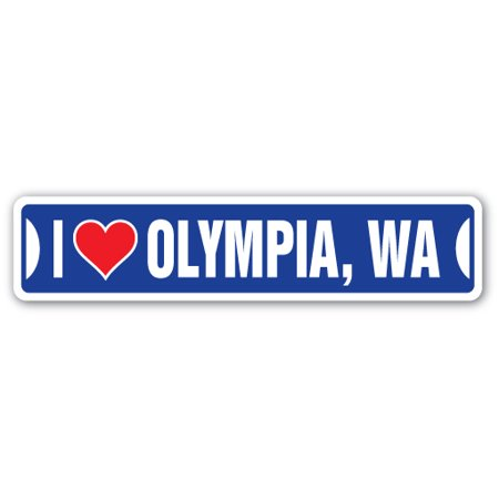 I LOVE OLYMPIA, WASHINGTON Street Sign wa city state us wall road décor gift - Party City Olympia