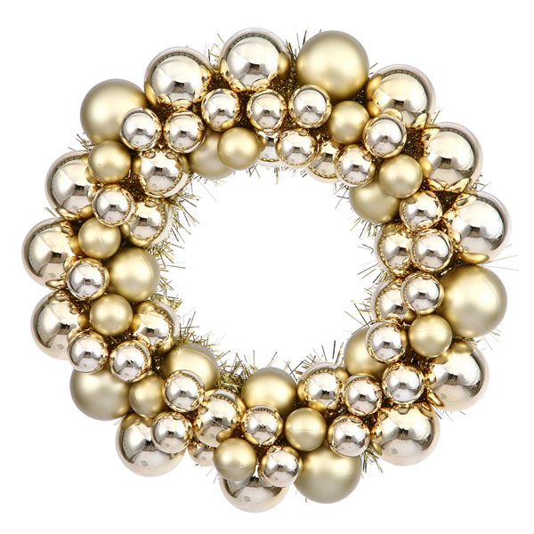 "12"" Vegas Gold Shatterproof Christmas Ball Ornament Wreath"