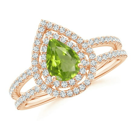 August Birthstone Ring - Split Shank Pear Peridot and Diamond Double Halo Ring in 14K Rose Gold (7x5mm Peridot) - (Pear Peridot Ring)