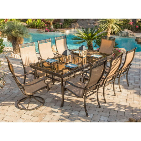 "Image of ""Hanover Outdoor Monaco 9-Piece Sling Dining Set with 42"""" x 84"""" Glass-Top Table and 8 C-Spring Chairs, Cedar"""