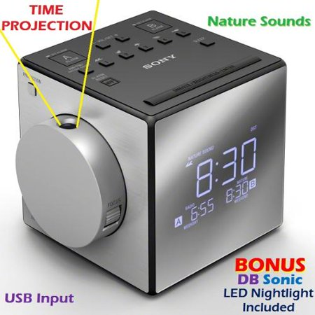Sony Time Projection Dual Gradual Alarm Clock & Noise Maker Sound Machine with 5 Nature Sounds, USB input for Cell Phone Charging + DBsonic (Time Clock Machines)