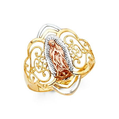 Diamond Filigree Heart Band Ring - Lady Guadalupe Ring 14k Yellow White Rose Gold Virgin Mary Filigree Band Diamond Cut Fancy 20MM