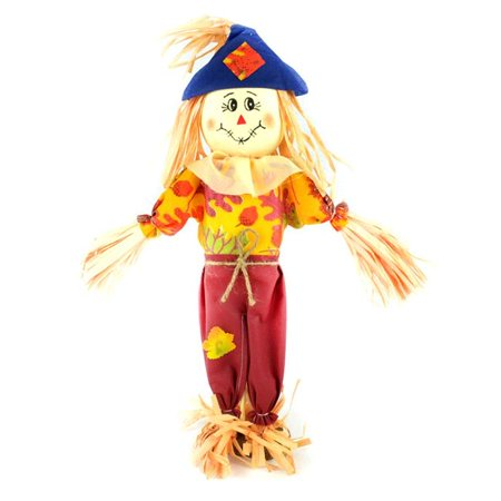 Midwest Design Imports 76063 Boy Scarecrow with Red Pants, Blue Hat & Leaf Shirt - 3 Piece - Scarecrow Hat
