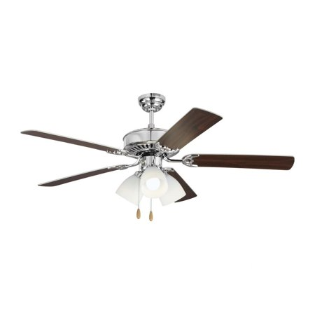 52-Inch 5 Blade A19 Led Ceiling Fan With Light Kit In Chrome With Silver Blade With Matte White