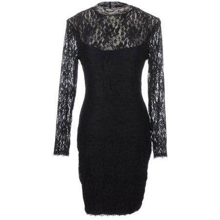 S/M Fit Black Sheer Lace Overlay Tear Drop Shape Cut Out Back Dress