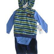Baby Boys Blue Striped Hooded Vest Bodysuit 3 Pc Pants Set 0-9M