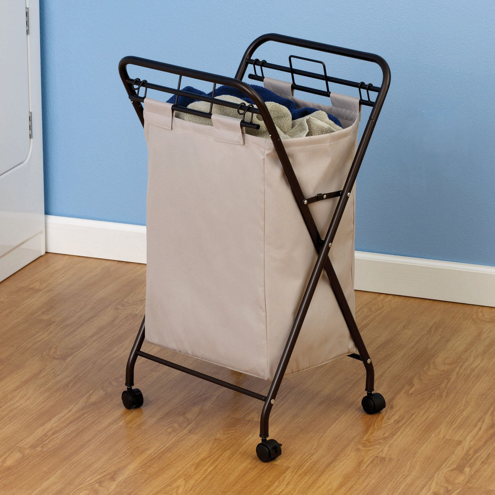 household essentials rolling laundry hamper with natural poly bag antique bronze frame