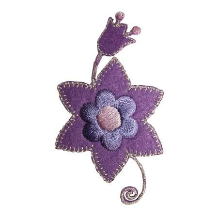 ID 8658 Purple Flower Craft Patch Garden Plant Felt Embroidered Iron On Applique](Felt Flower Crown)
