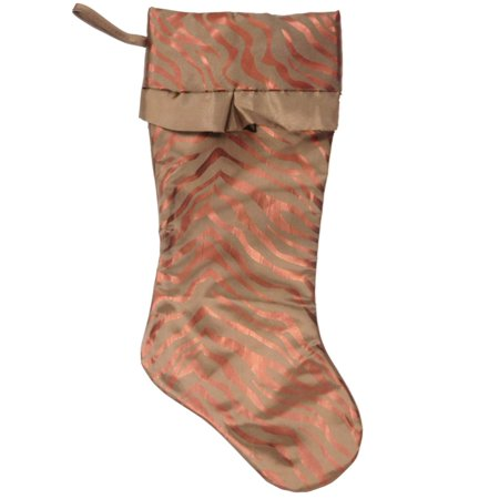 Metallic Brown Zebra Stripe Animal Print Satin Christmas Holiday Stocking