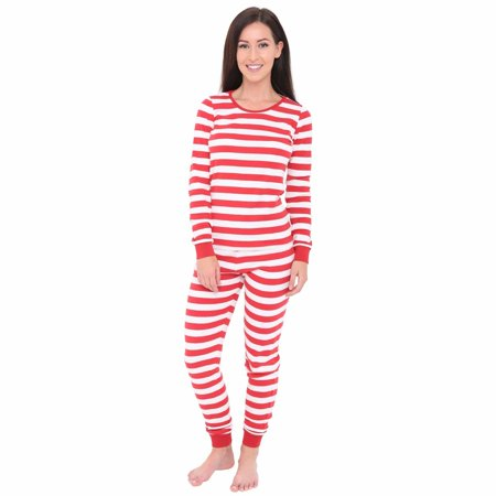 Skylinewears Women's Long Sleeve Fitted Striped Casual 2 Piece Pajama Set Sleepwear Red & White - 2 Piece Long Sleeved Pajamas
