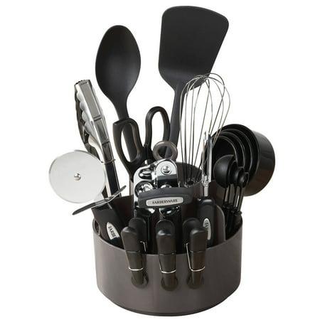 Farberware Colorworks Black Kitchen Utensils Caddy Set, 20 Piece