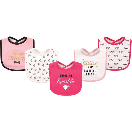 Hudson Baby Boy and Girl Cotton/Terry Drooler Bib, 5-Pack - Sparkle
