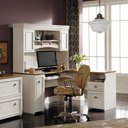 This button opens a dialog that displays additional images for this product  with the option to zoom in or out. - Bush Fairview L-Shaped Computer Desk With Optional Hutch - Antique