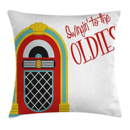 Jukebox Throw Pillow Cushion Cover, Jazz Age Vintage Party Theme Music Raido Box with Quote Art Print, Decorative Square Accent Pillow Case, 18 X 18 Inches, Red Sky Blue and Yellow, by Ambesonne