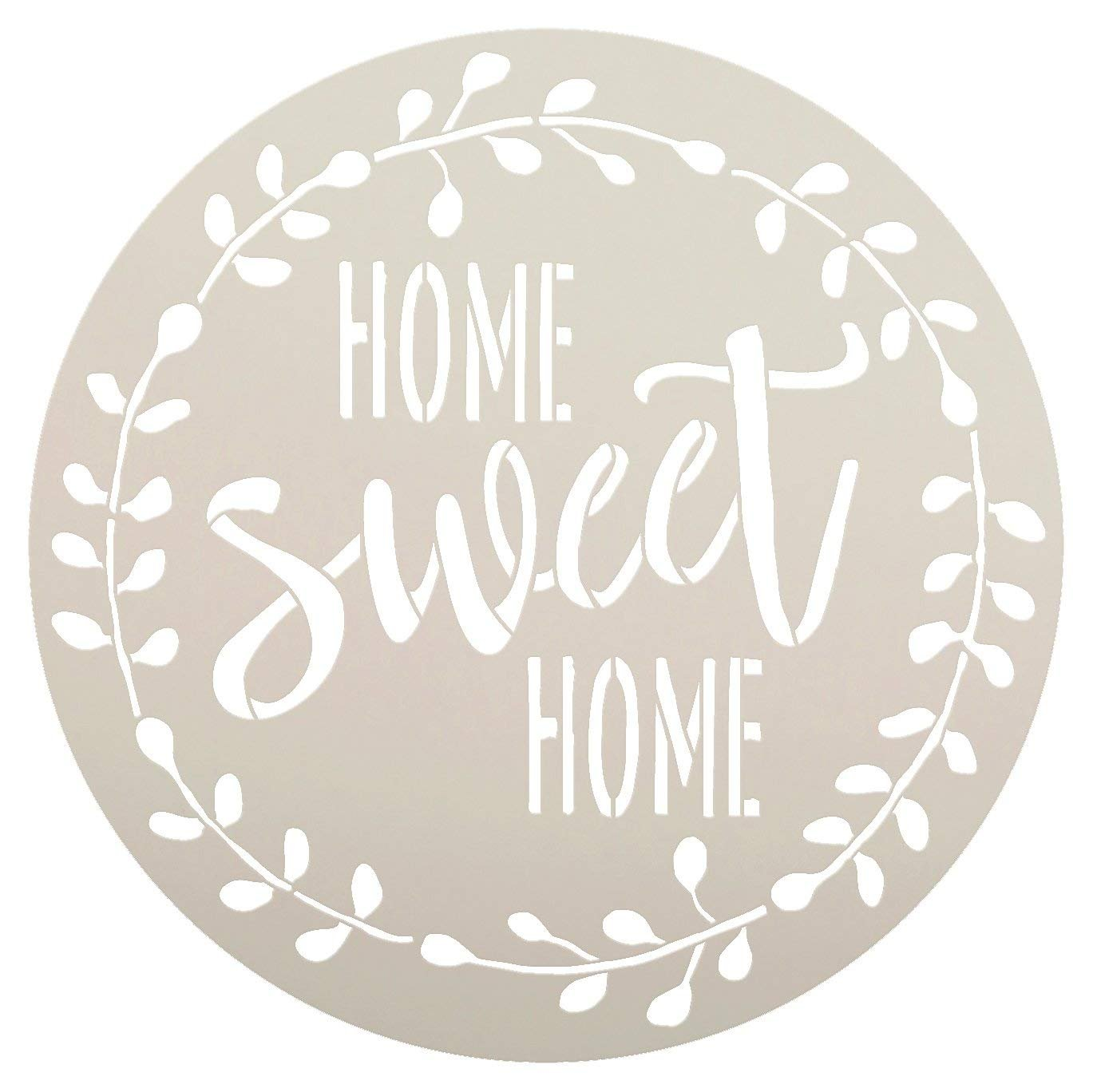 Home Sweet Home Stencil with Laurel Wreath by StudioR12 | Reusable Mylar Template for Painting Wood Signs |... by Studio R 12