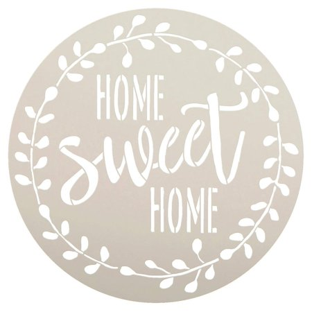Home Sweet Home Stencil with Laurel Wreath by StudioR12 | Reusable Mylar Template for Painting Wood Signs | Round Design | DIY Home Decor Country Farmhouse Style | Mixed Media -
