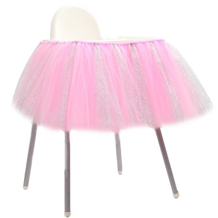 1st Birthday Baby pink Tutu Skirt for High Chair Decoration for Party Supplies