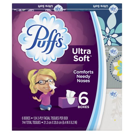 Puffs Plus Tissues (Puffs Ultra Soft Non-Lotion Facial Tissues, 6 Family Boxes, 124 tissues per)