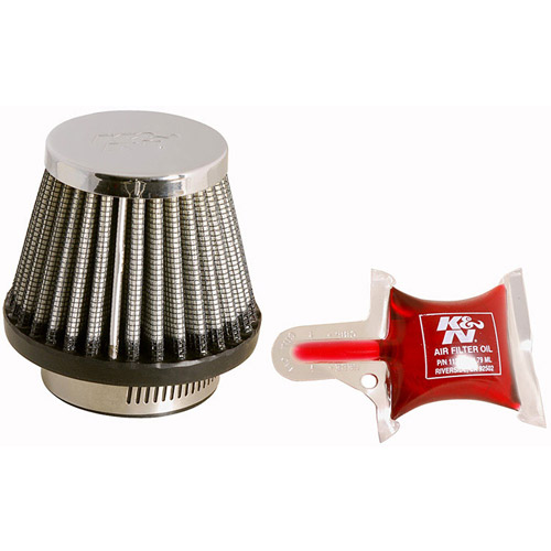 K&N RC-2490 Universal Clamp-On Air Filter: Round Tapered; 1.688 in (43 mm) Flange ID; 2.375 in (60 mm) Height; 3 in (76 mm) Base; 2 in (51 mm) Top