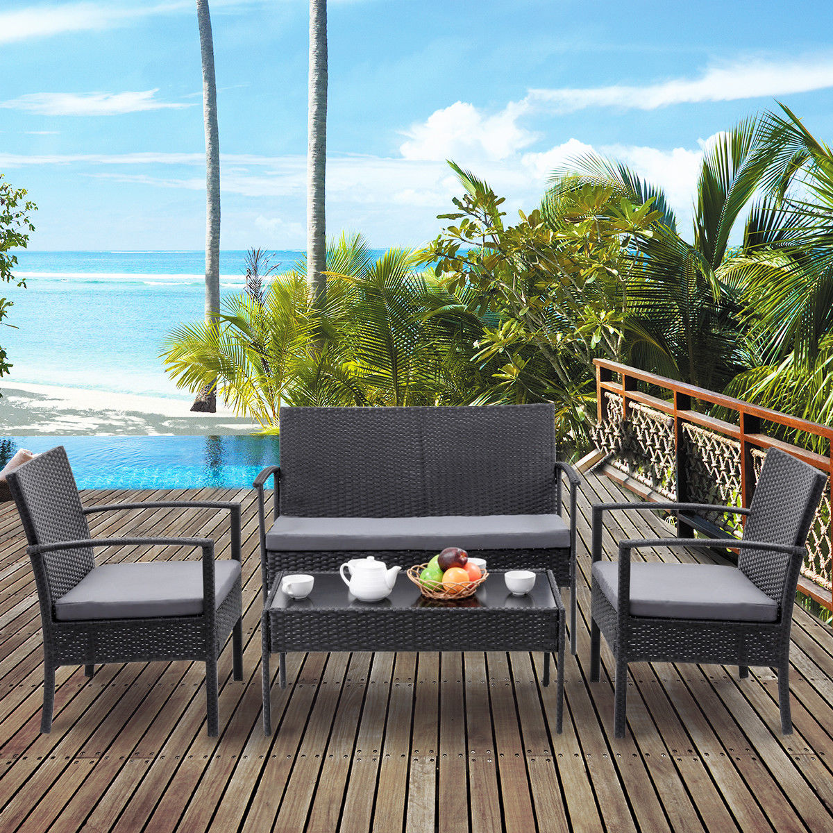 Costway 4 PCS Outdoor Patio Rattan Wicker Furniture Set Table Sofa Cushioned Deck Black by Costway