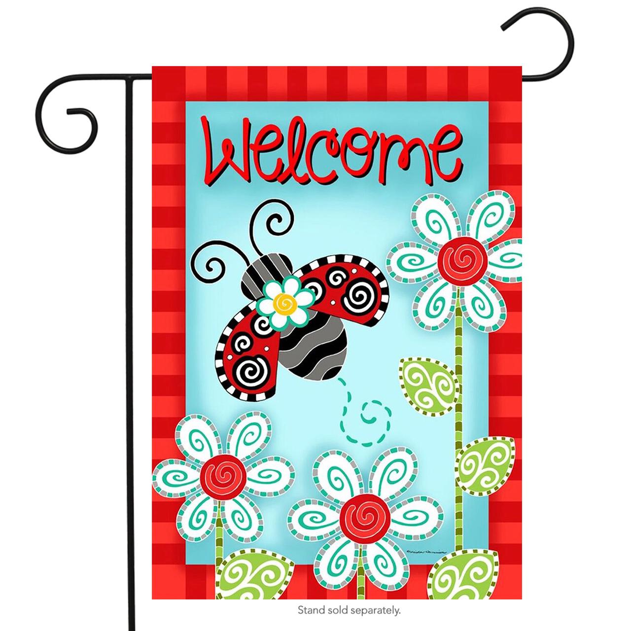 "Ladybug Welcome Spring Garden Flag Flowers 12.5"" x 18"" Briarwood Lane"