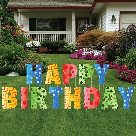 The Holiday Aisle 13 Piece Happy Birthday Letters Yard Sign Set ()