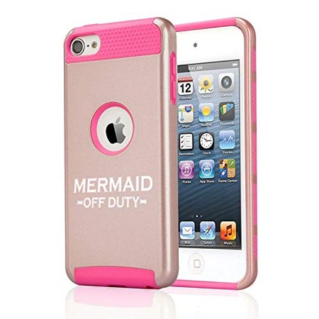 Off Apple Ipod - Shockproof Impact Hard Soft Case Cover for Apple (iPod Touch 5th / 6th) Mermaid Off Duty (Rose Gold-Hot Pink)
