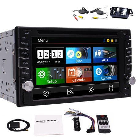 6.2 inch Windows CE System Double Din Sat Nav Head unit GPS Car DVD Player support AM/FM Radio SD/USB/1080P/SWC/Cam-input for Autoradio Bluetooth Stereo Capacitive Touchscreen Free 8GB SD (In Car Entertainment System With Sat Nav)