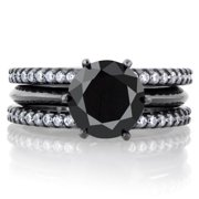 Black Cubic Zirconia Triple Row Wedding Ring Set 3